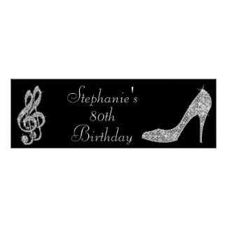 Black/Silver Music Note & Stiletto 80th Birthday Posters