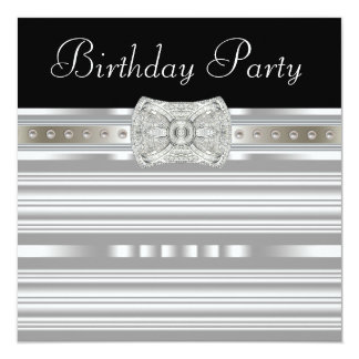 Black Silver Pearls Womans Birthday Party Card