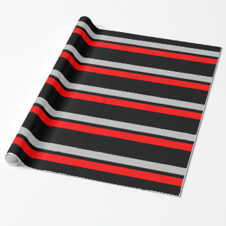 Black Silver & Red Horizontal Stripes Giftwrap Wrapping Paper
