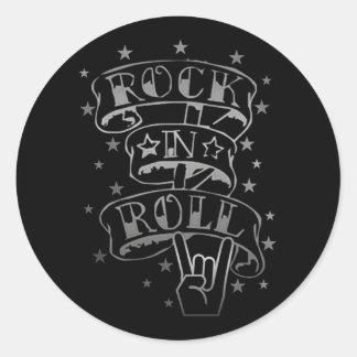 Black & Silver Rock & Roll Logo Stickers