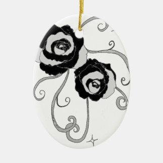 Black Silver Roses Christmas Tree Ornaments