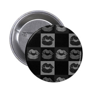 Black Silver Sassy Lips 6 Cm Round Badge