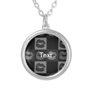 Black Silver Sassy Lips Round Pendant Necklace