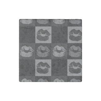Black Silver Sassy Lips Stone Magnet