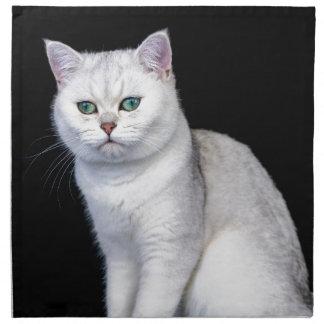 Black silver shaded British short hair cat Napkin