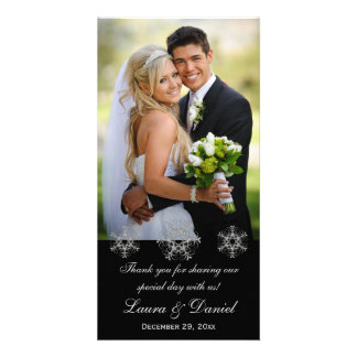 Black, Silver Snow Flakes Wedding Photo Card