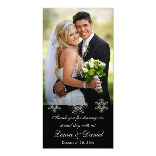 Black, Silver Snow Flakes Wedding Photo Card