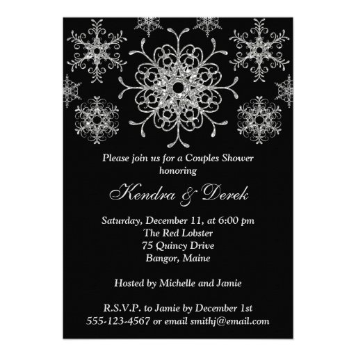 Black, Silver Snowflakes Couples Shower Invite