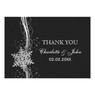 black Silver Snowflakes Winter wedding Thank You Custom Announcement