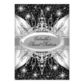 "Black & Silver Sparkle Diamond Sweet 16 Invite 4.5"" X 6.25"" Invitation Card"