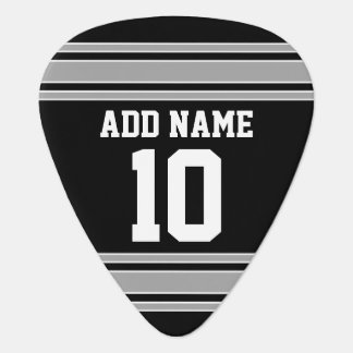 Black Silver Sports Jersey with Your Name & Number Plectrum