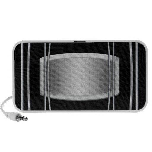 Black silver steel laptop speaker