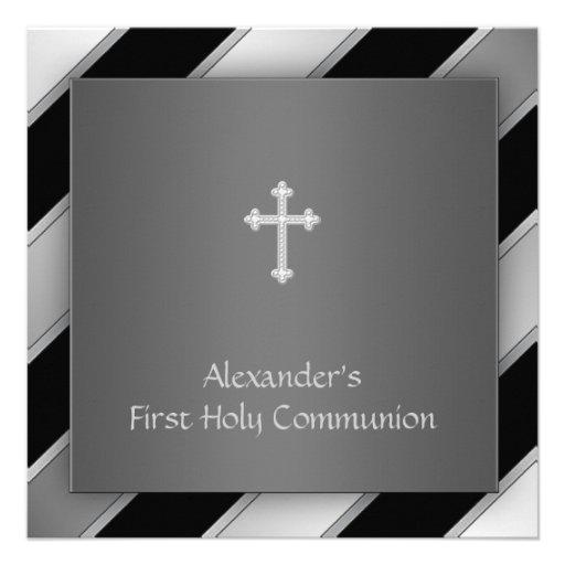 Black Silver Stripe Boy First Communion Invitations