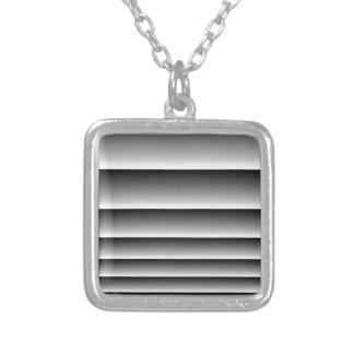 Black Silver Stripes Square Pendant Necklace