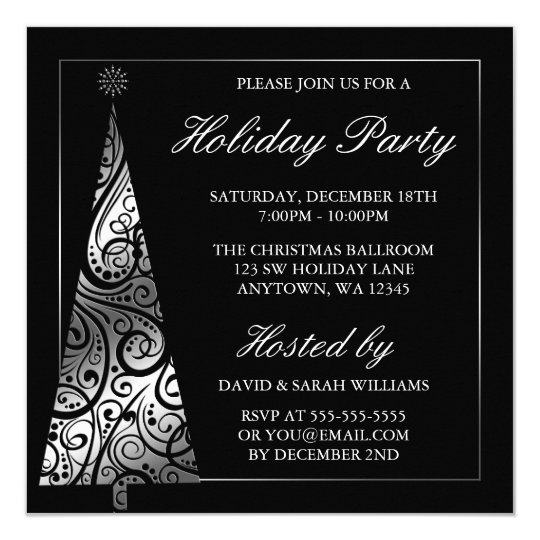 Black Silver Swirl Christmas Tree Holiday Party Card
