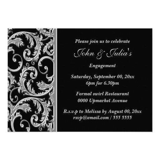 Black silver swirl engagement anniversary CUSTOM Personalized Invitations
