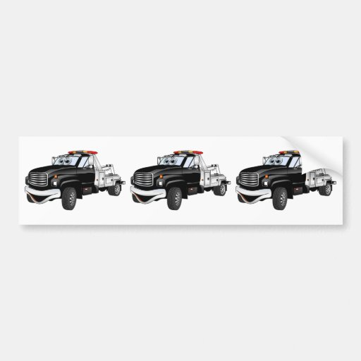 Black Silver Tow Truck Cartoon Bumper Stickers