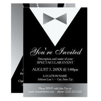 Black & Silver Tuxedo Invitations | Modern Formal