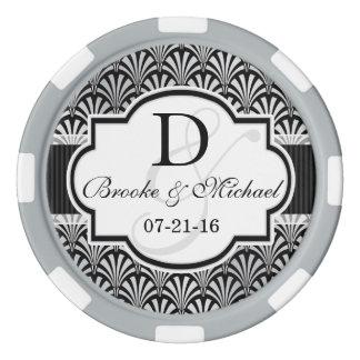 Black & Silver Vintage Art Deco Wedding Poker Chips