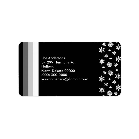 Black Silver White Christmas Address Label 1