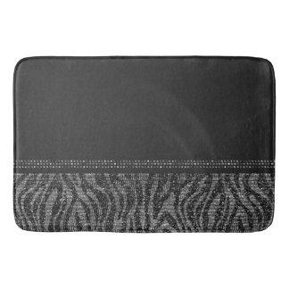 Black & Silver Zebra Wild Animal Print Exotic Glam Bath Mat