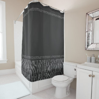 Black & Silver Zebra Wild Animal Print Exotic Glam Shower Curtain