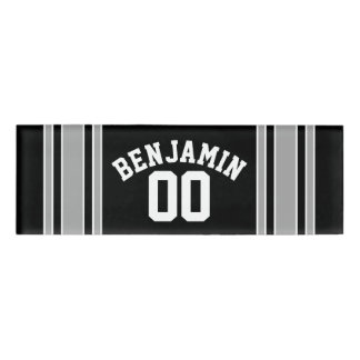Black SilverFootball Jersey Custom Name Number Name Tag