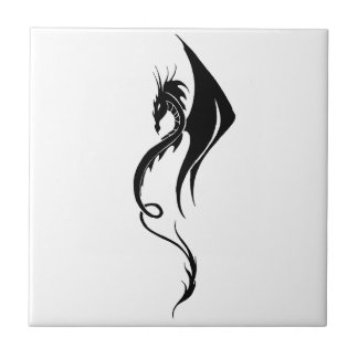 Black Simple Tribal Dragon Small Square Tile