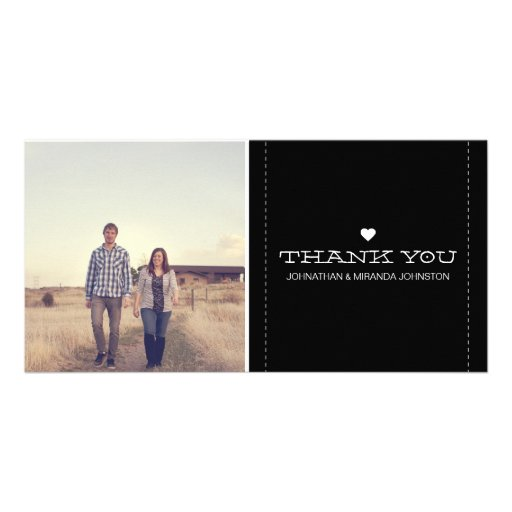 Black Simply Chic Photo Wedding Thank You Cards Photo Greeting Card