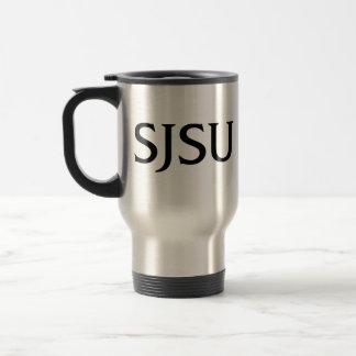 Black SJSU iSchool logo travel mug