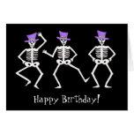 Black Skeleton Dancing Halloween Happy Birthday Greeting Card