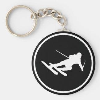black ski skiing icon downhill basic round button key ring