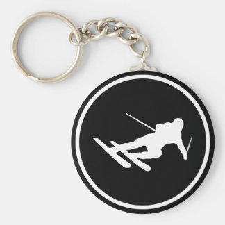 black ski skiing icon downhill key ring