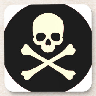 black skull and bones coaster