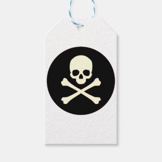 black skull and bones gift tags