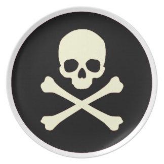black skull and bones plate