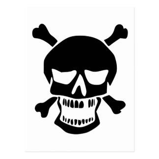 Black Skull and Crossbones Silhouette Postcard
