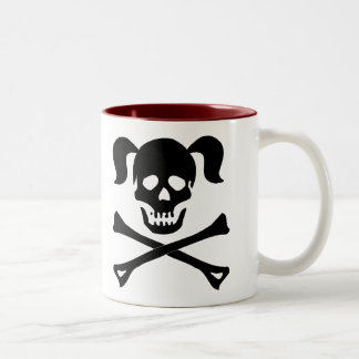 Black Skull and Crossbones With Pigtails Mugs