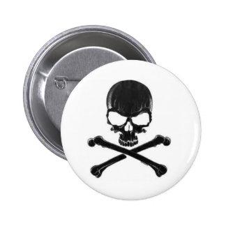 Black Skull/Crossbone 6 Cm Round Badge