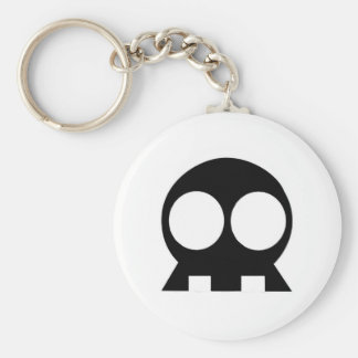 BLACK Skull Key Basic Round Button Key Ring