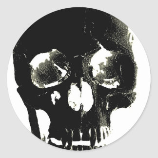 Black Skull - Negative Image Classic Round Sticker