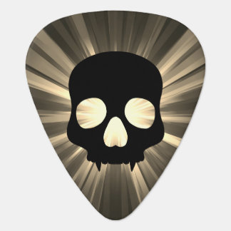 Black skull on sepia and gray plectrum
