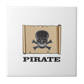 black skull pirate small square tile