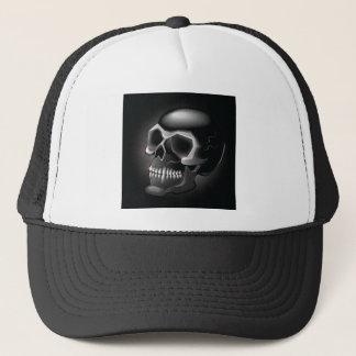 Black skull trucker hat