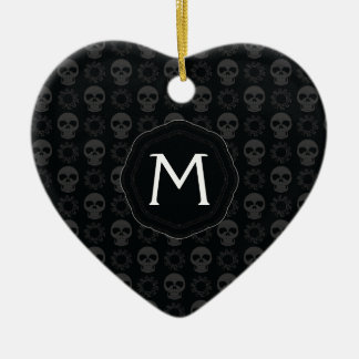 Black Skulls And Gears Pattern With Initial Ceramic Ornament