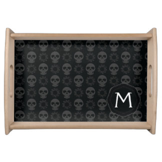 Black Skulls And Gears Pattern With Initial Serving Tray