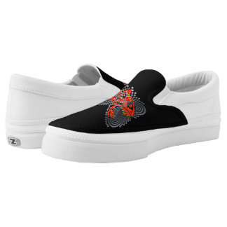 Black slip on sneakers modern design angry fish