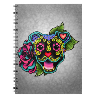 Black Smiling Pit Bull Day of the Dead Sugar Skull Notebook