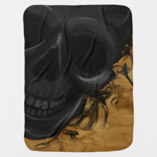 Black Smiling Skull surrounded by Bats and Smoke Baby Blanket