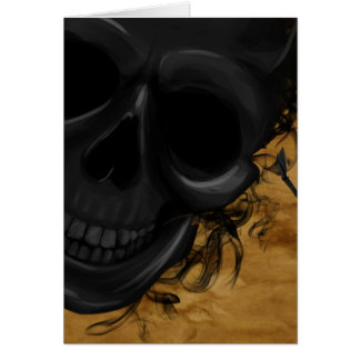 Black Smiling Skull surrounded by Bats and Smoke Card